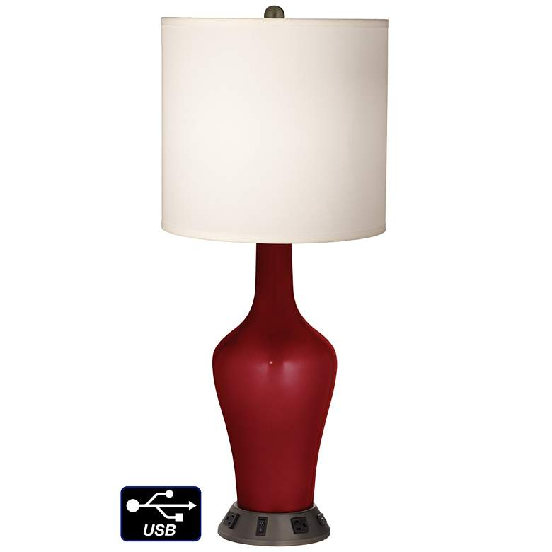 White Drum Jug Lamp - 2 Outlets and USB in Cabernet Red Metallic