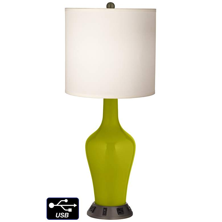 White Drum Jug Table Lamp - 2 Outlets and USB in Olive Green