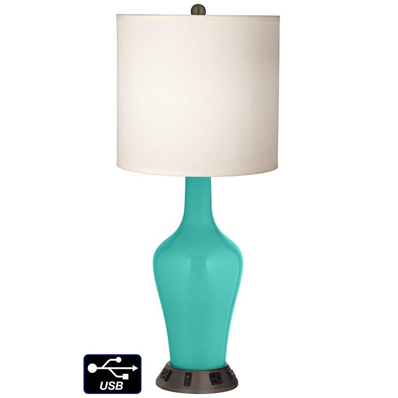 White Drum Jug Table Lamp - 2 Outlets and USB in Synergy