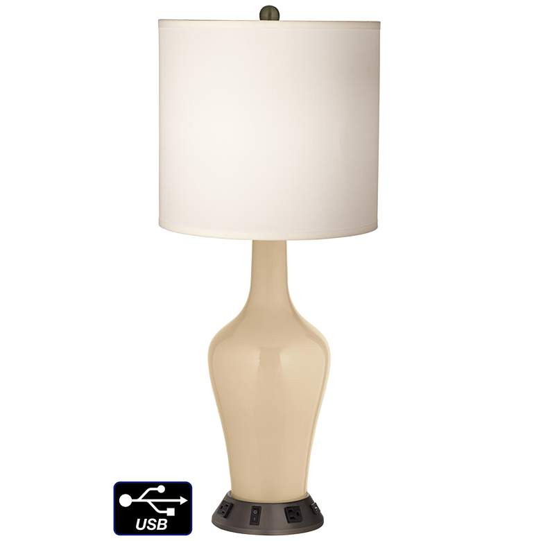White Drum Jug Table Lamp - 2 Outlets and USB in Colonial Tan