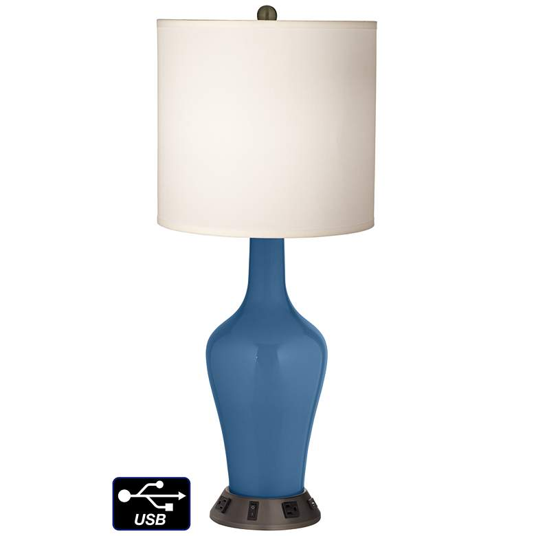 White Drum Jug Table Lamp - 2 Outlets and USB in Regatta Blue