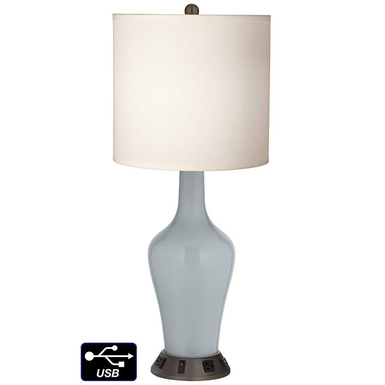 White Drum Jug Table Lamp - 2 Outlets and USB in Uncertain Gray