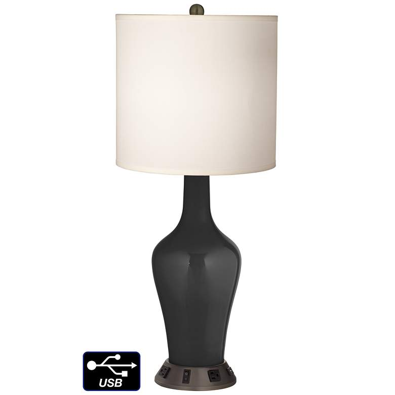 White Drum Jug Table Lamp - 2 Outlets and USB in Tricorn Black