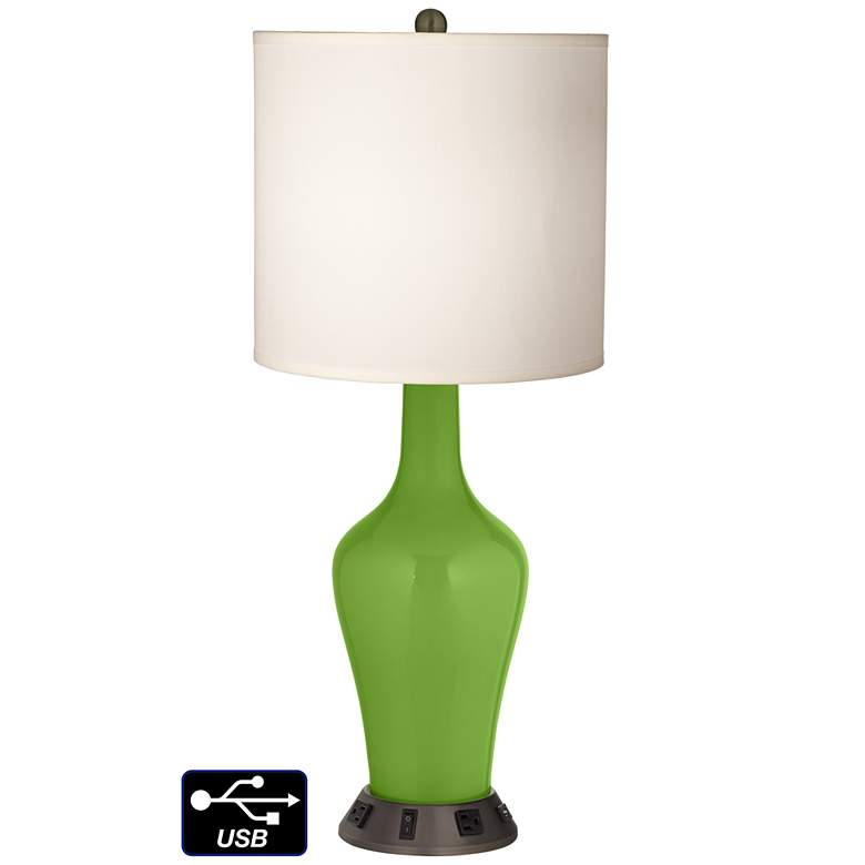 White Drum Jug Table Lamp - 2 Outlets and USB in Rosemary Green