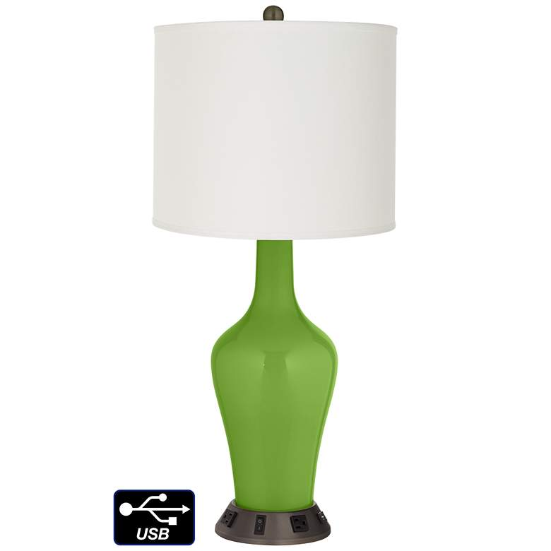 Off-White Drum Jug Lamp - 2 Outlets and USB in Rosemary Green