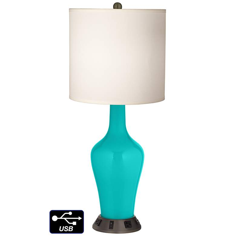White Drum Jug Table Lamp - 2 Outlets and USB in Turquoise