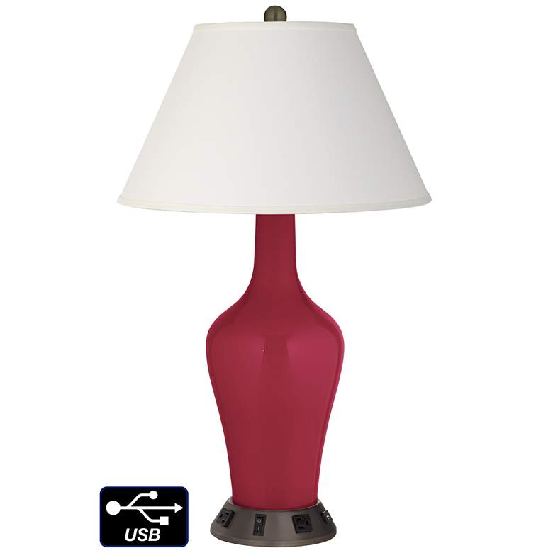 Ivory Empire Jug Table Lamp - 2 Outlets and USB in Antique Red
