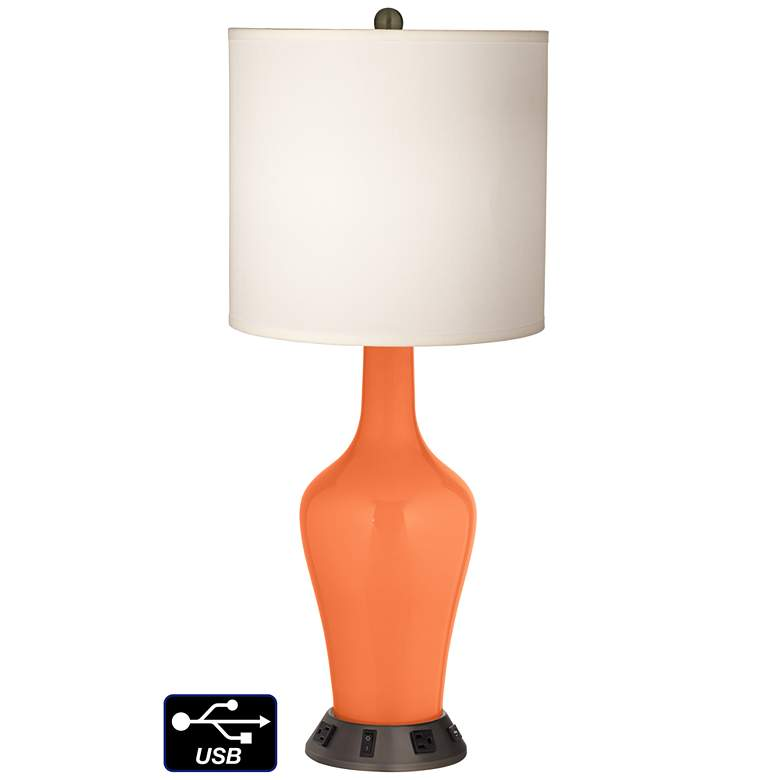 White Drum Jug Table Lamp - 2 Outlets and USB in Nectarine