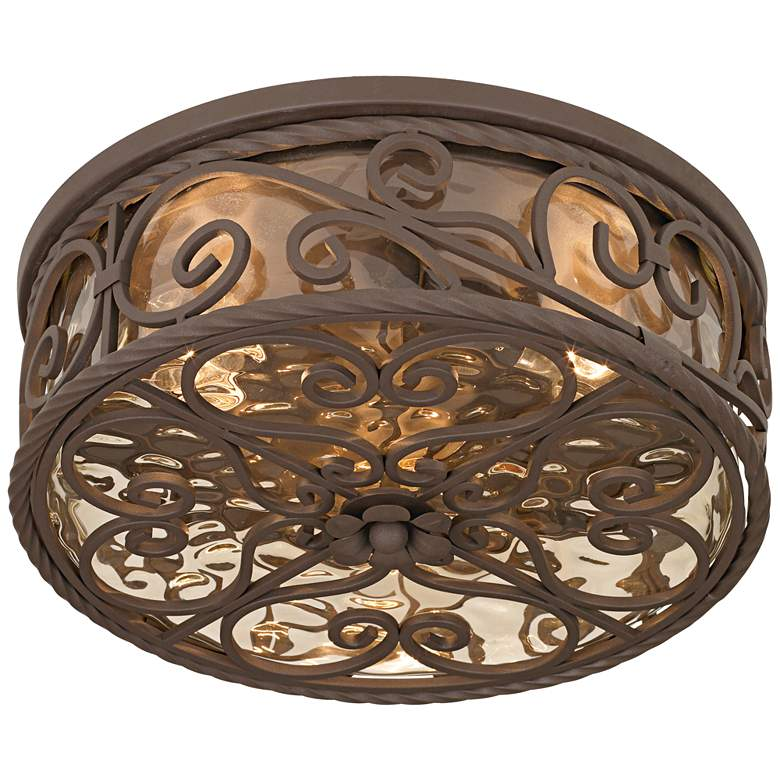 "Casa Seville 15"" Wide Walnut Indoor-Outdoor Ceiling Light"