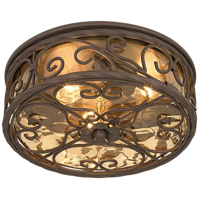 "Casa Seville 12"" Wide Walnut Indoor-Outdoor Ceiling Light"