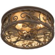 "Casa Seville 12"" Wide Walnut Indoor-Outdoor Ceiling Light"