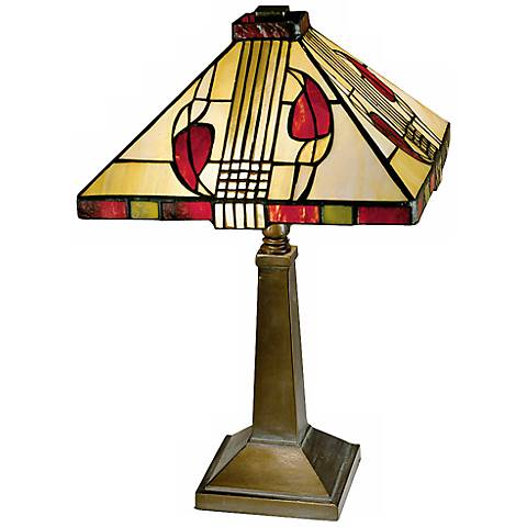 "Henderson 15"" High Cream Glass Dale Tiffany Accent Lamp"