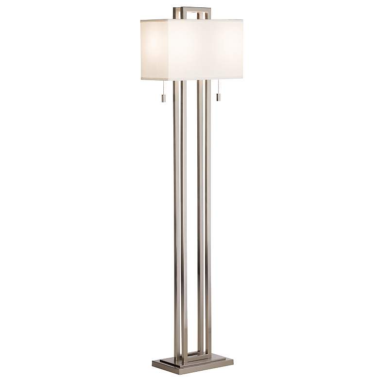Possini Euro Design Double Tier Brushed Nickel Floor Lamp