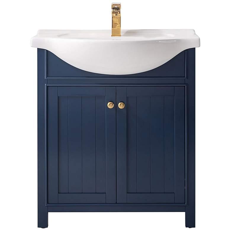 """Marian 30"""" Wide 2-Door Blue Porcelain-Top Single Sink Vanity"""