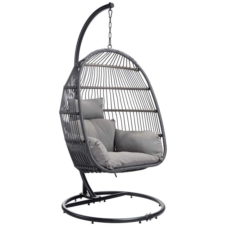 Zuo Bilbao Gray Swivel Outdoor Hanging Chair