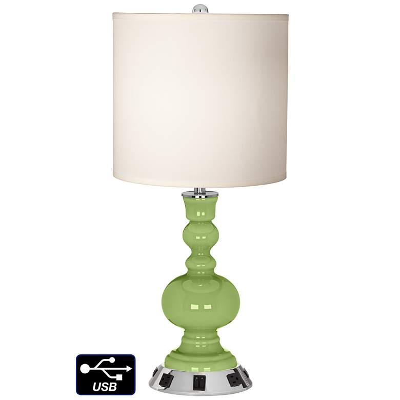 White Drum Apothecary Lamp - 2 Outlets and 2 USBs in Lime Rickey
