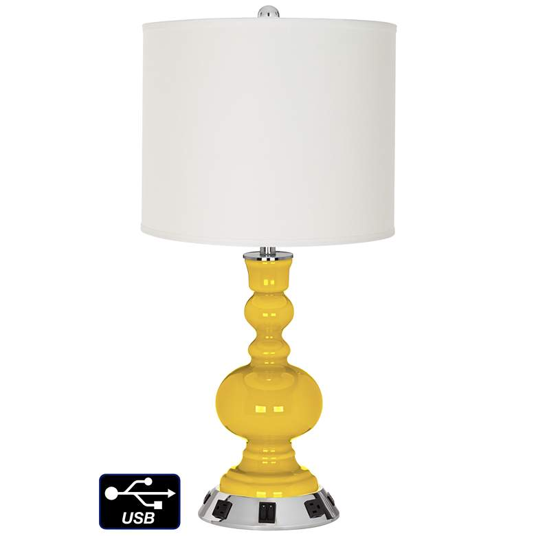Off-White Drum Apothecary Lamp - 2 Outlets and 2 USBs in Citrus