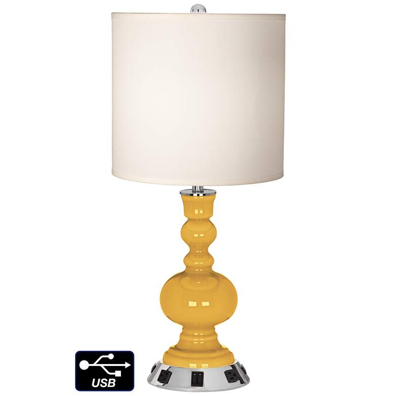 White Drum Apothecary Lamp - 2 Outlets and 2 USBs in Goldenrod