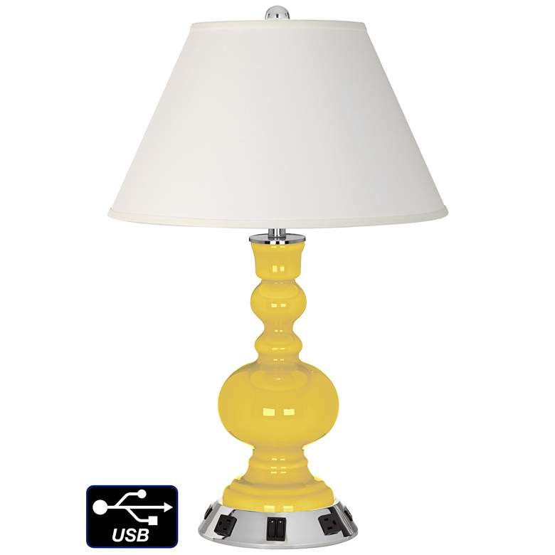Ivory Empire Apothecary Lamp - Outlets and USBs in Lemon Zest