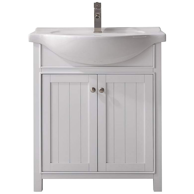 """Marian 30""""W 2-Door White Porcelain-Top Single Sink Vanity"""
