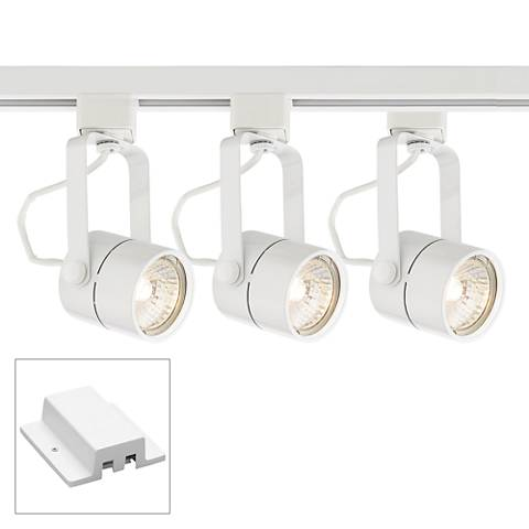 3-Light White Cylinder Track Kit w/Floating Canopy