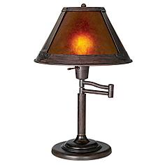 """Mission Bronze 18"""" High Mica Shade Swing Arm Table Lamp"""