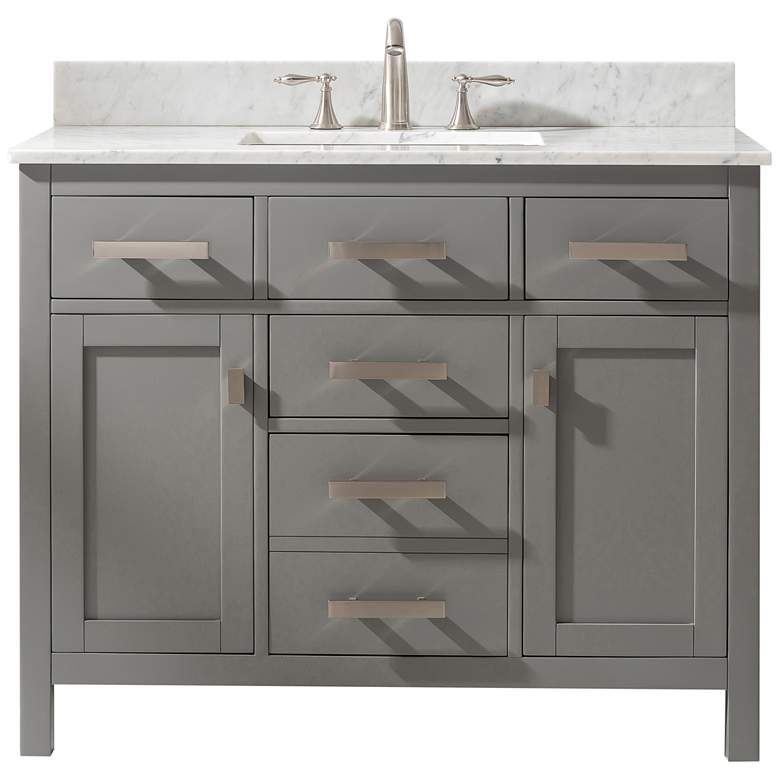 """Valentino 42"""" Wide 5-Drawer Gray Marble-Top Single Vanity"""