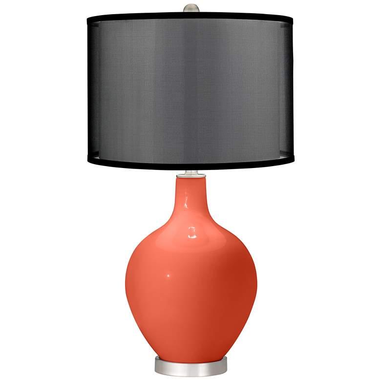 Daring Orange Ovo Table Lamp with Organza Black Shade