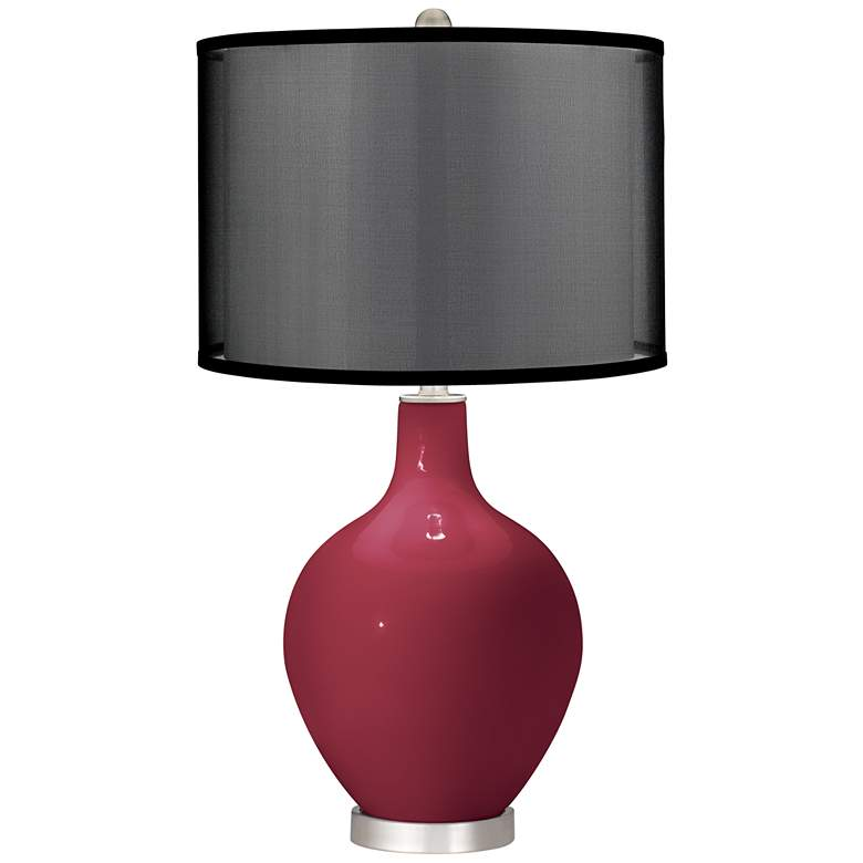 Antique Red Ovo Table Lamp with Organza Black Shade