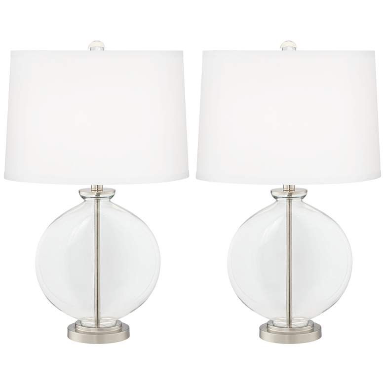 Clear Glass Fillable Carrie Table Lamp Set of
