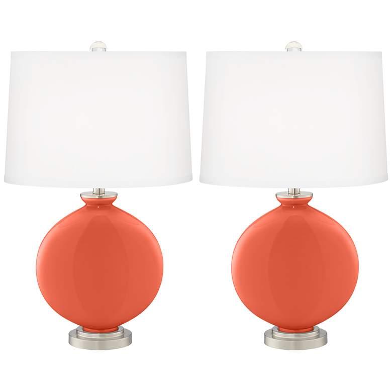 Daring Orange Carrie Table Lamp Set of 2