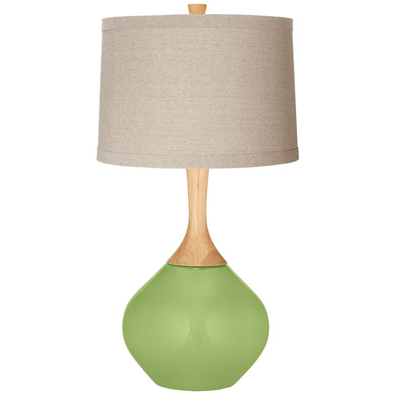 Lime Rickey Natural Linen Drum Shade Wexler Table Lamp