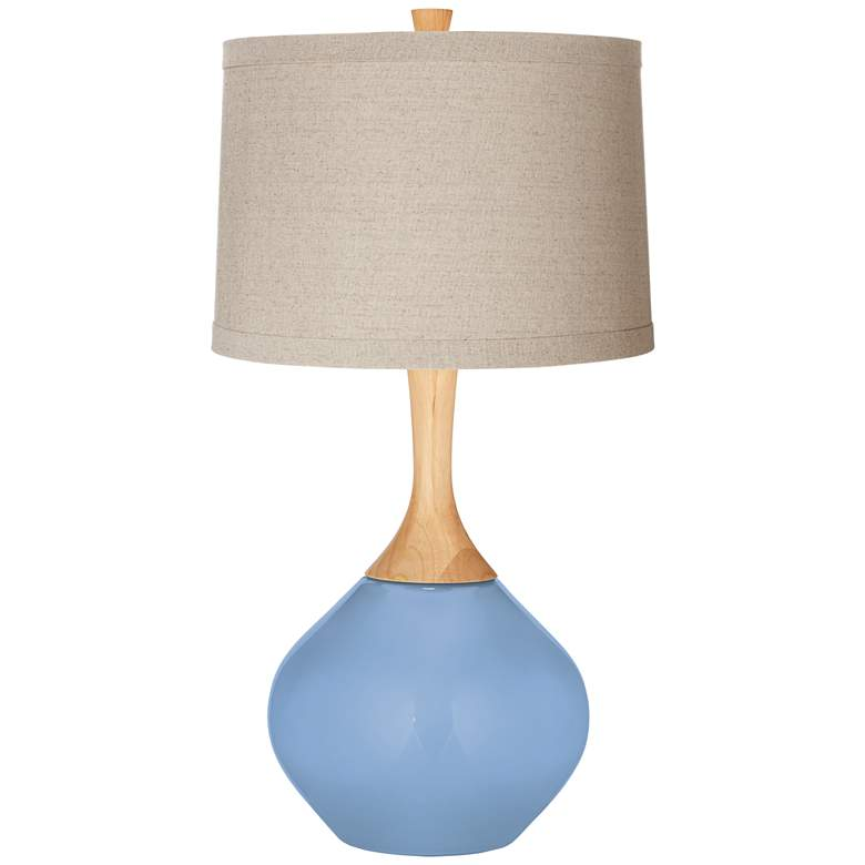 Placid Blue Natural Linen Drum Shade Wexler Table Lamp