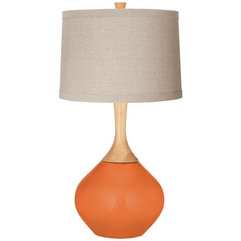 Celosia Orange Natural Linen Drum Shade Wexler Table