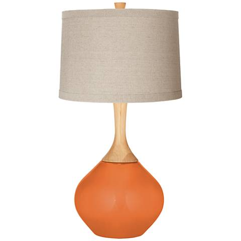 Celosia Orange Natural Linen Drum Shade Wexler Table Lamp