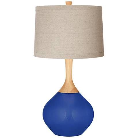 Dazzling Blue Natural Linen Drum Shade Wexler Table Lamp
