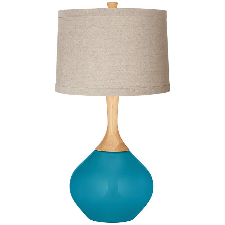 Caribbean Sea Natural Linen Drum Shade Wexler Table Lamp