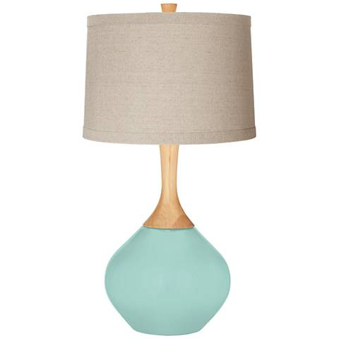 Cay Natural Linen Drum Shade Wexler Table Lamp
