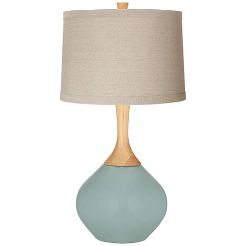 Aqua-Sphere Natural Linen Drum Shade Wexler Table Lamp