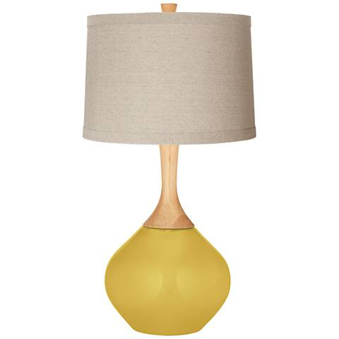 Nugget Natural Linen Drum Shade Wexler Table Lamp
