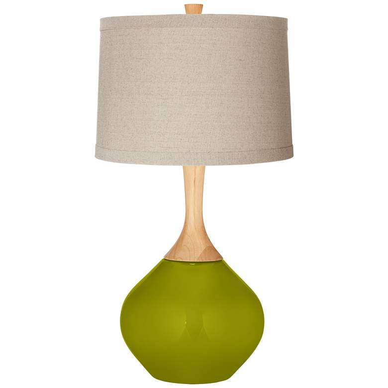 Olive Green Natural Linen Drum Shade Wexler Table
