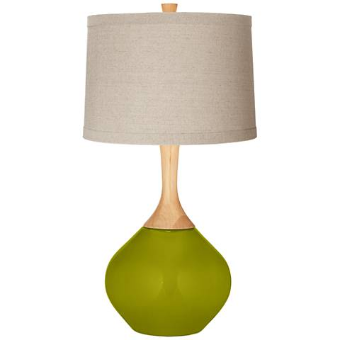 Olive Green Natural Linen Drum Shade Wexler Table Lamp