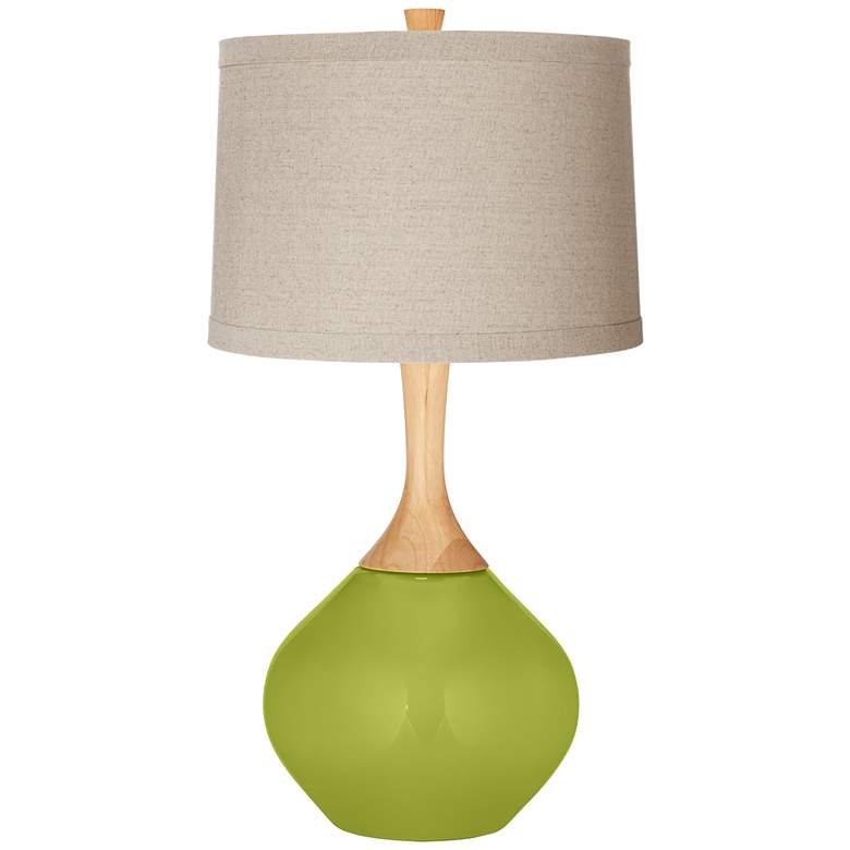 Parakeet Natural Linen Drum Shade Wexler Table Lamp