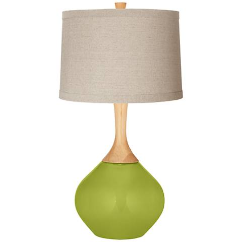 Parakeet Natural Linen Drum Shade Wexler Table Lamp