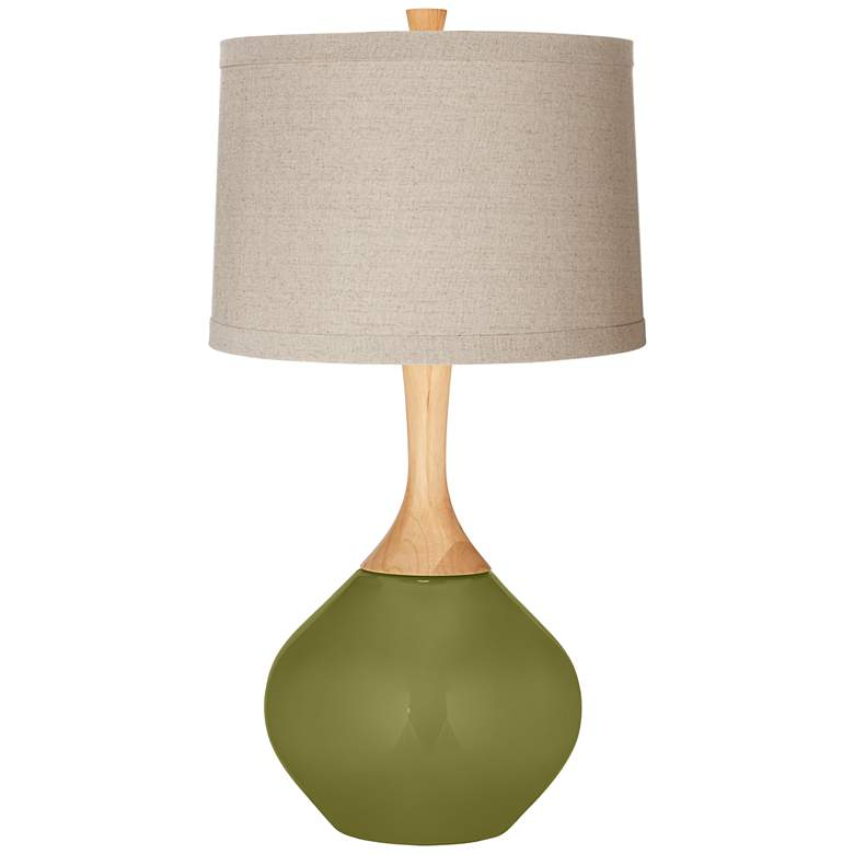 Rural Green Natural Linen Drum Shade Wexler Table Lamp