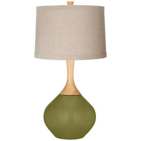 Rural Green Natural Linen Drum Shade Wexler Table Lamp