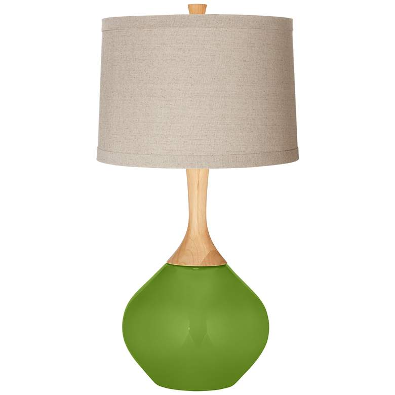 Gecko Natural Linen Drum Shade Wexler Table Lamp