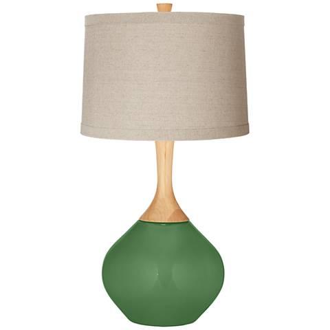 Garden Grove Natural Linen Drum Shade Wexler Table Lamp