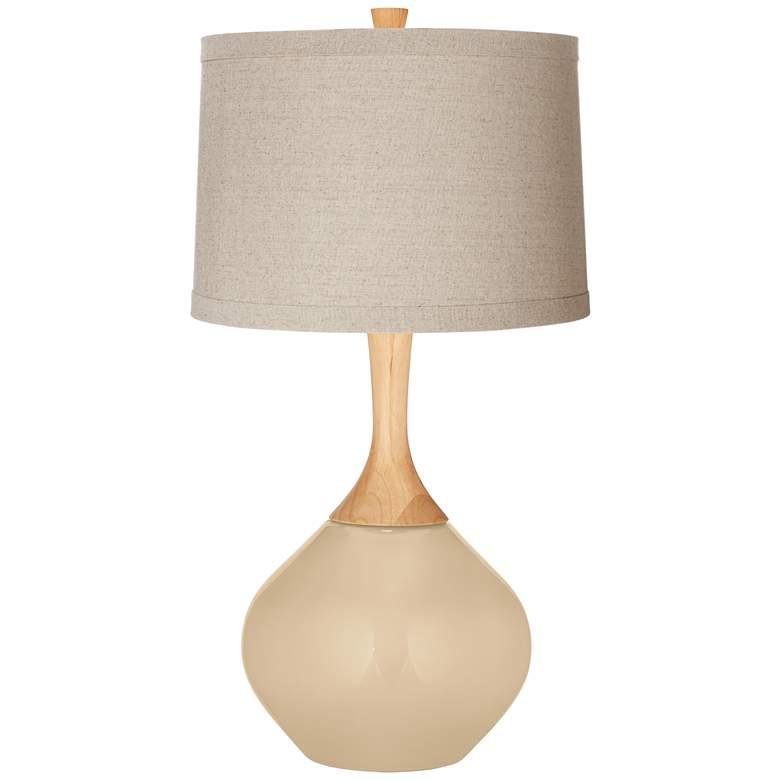Colonial Tan Natural Linen Drum Shade Wexler Table Lamp