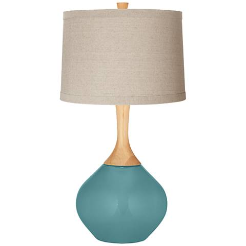 Reflecting Pool Natural Linen Drum Shade Wexler Table Lamp